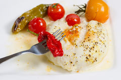 Baked Sole Fish with Vegetables in sauce Royalty Free Stock Photography