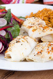Baked sole with rice and salad Royalty Free Stock Photos
