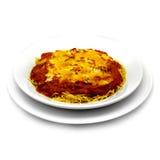 Baked Spaghetti. Isolated on white Stock Images