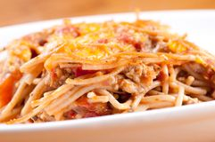 Baked spaghetti Stock Photography