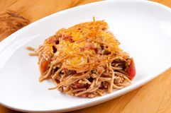 Baked spaghetti Stock Images