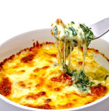 Baked spinach with cheese Stock Image