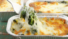 Baked spinach with cheese Stock Images