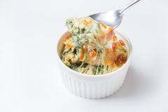 Baked spinach with chesse Stock Images
