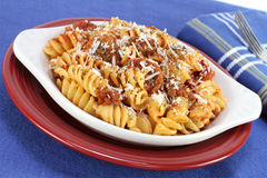 Baked spriral rotelle pasta in meat sauce Royalty Free Stock Photo