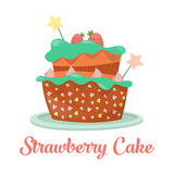 Baked strawberry cake, dessert food Royalty Free Stock Photography