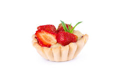 Baked strawberry dessert with cream. Sweet. Strawberry tart isolated on white Royalty Free Stock Photography