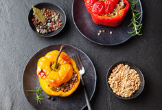Baked stuffed bell peppers filled with spelt wheat, rice, vegetables Stone background Royalty Free Stock Image