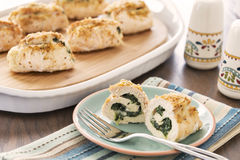 Baked stuffed chicken breasts Royalty Free Stock Images