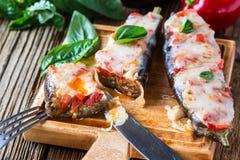 Baked stuffed eggplant Stock Image