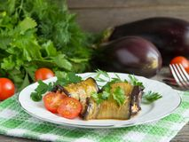 Baked stuffed eggplant with meat, vegetables and cheese. Stock Images