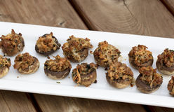 Baked Stuffed Mushrooms with Melted Cheese Stock Photos
