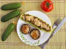 Baked stuffed mushrooms and zucchini Stock Image