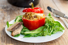 Baked stuffed peppers with meat sauce and cheese Stock Photos