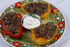 Baked Stuffed Peppers with Meat, Wild Rice, Vegetables and Greens Stock Image