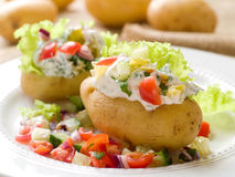 Baked stuffed potato Royalty Free Stock Photos