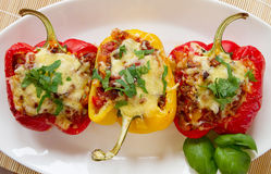 Baked stuffed red bell pepper Royalty Free Stock Photos
