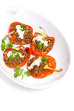 Baked Stuffed Red Bell Pepper with Meat Royalty Free Stock Photography