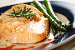Baked stuffed salmon Royalty Free Stock Image