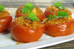 Baked stuffed tomatoes Stock Photo