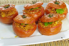 Baked stuffed tomatoes Stock Images