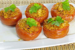 Baked stuffed tomatoes Royalty Free Stock Photo