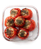Baked stuffed tomatoes, over white Stock Photos