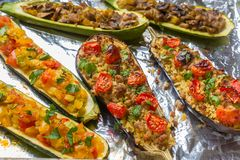 Group of Baked Stuffed Vegetables royalty free stock photo