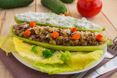 Baked stuffed zucchini Stock Images