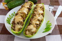 Baked stuffed zucchini, and vegetables Royalty Free Stock Photography