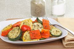 Baked Summer Squash and Peppers Stock Photo