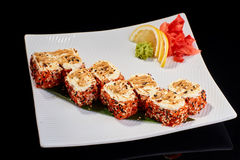 Baked Sushi Roll with scallops and Philadelphia cheese Royalty Free Stock Images