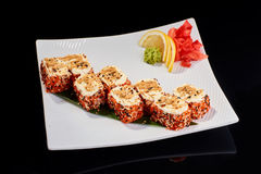 Baked Sushi Roll with scallops and Philadelphia cheese Royalty Free Stock Image
