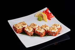 Baked Sushi Roll with spicy crab and Philadelphia cheese Stock Photo
