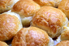 Baked sweet buns on a baking sheet with a ruddy crust, homemade delicious cakes Stock Photography