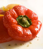 Baked sweet pepper. Close-up of red sweet pepper royalty free stock image