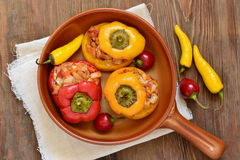 Baked sweet peppers stuffed with vegetables Royalty Free Stock Photo