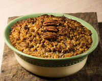 Baked sweet potato casserole with pecan topping Royalty Free Stock Photo