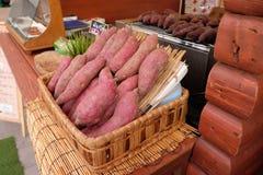 Baked sweet potato. In farmer market Royalty Free Stock Photo