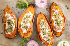Baked sweet potato. Top view royalty free stock photography