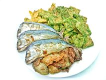 Baked Thai Mackerel on white background Stock Images