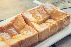 Baked Toast with milk and sugar Stock Image