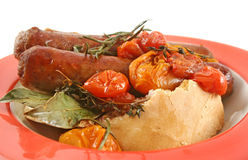 Baked Tomato And Sausages Stock Photo