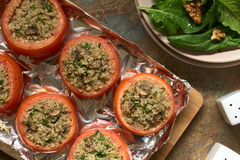 Baked Tomato Stuffed with Quinoa and Mushroom Stock Images