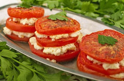 Baked tomatoes with cheese Stock Photography