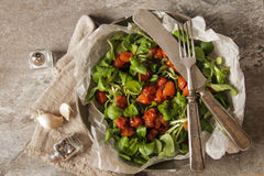 Baked tomatoes with garlic and salad. Baked tomatoes with garlic salt and salad stock photos