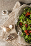 Baked tomatoes with garlic and salad. Baked tomatoes with garlic salt and salad stock photo
