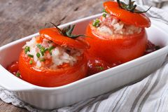 Baked tomatoes stuffed with rice, vegetables and meat Royalty Free Stock Photography
