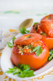 Baked tomatoes stuffed with tuna and vegetables Royalty Free Stock Photos