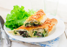 Baked Tortilla Rolls with Spinach, Chicken and Mushrooms Stock Photography